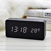 Đồng hồ gỗ LED để bàn cao cấp, có nhiệt độ, ngày tháng năm, cảm biến âm thanh