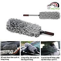 Cây chổi lau bụi ô tô bằng sợi dầu màu xám - cán kim loại điều chỉnh được độ dài - dọn nội thất cho xe hơi, otô, xe tải