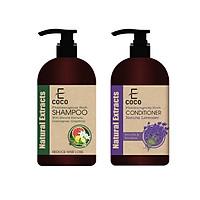 Dầu gội dược liệu giảm rụng tóc chiết xuất sả chanh, bưởi Ecoco 336g + Dầu xả thảo dược dưỡng tóc chiết xuất oải hương Ecoco 180g