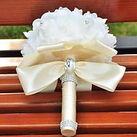Bó hoa cưới Hàn Quốc tay cầm màu Trắng sữa Phối bông trắng