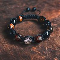 Vòng tay phong thủy thời trang handmade đá mắt hổ nâu vàng, đá đen kết hợp gỗ sưa đỏ bi kim tiền dây đan shamballa phật giáo