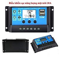 Bộ điều khiển sạc acquy từ năng lượng mặt trời NLMT tự động 12V 24V 10A 20A 30A có hiển thị LCD + sạc điện thoại từ USB