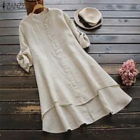 ZANZEA Women Long Sleeve Irregular Hem Shirt Dress High Low Mini Dress Plus Size