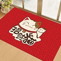 Thảm Nhà Bếp Mèo Thần Tài Neko Lau Chùi Chân Chống Trơn Trượt