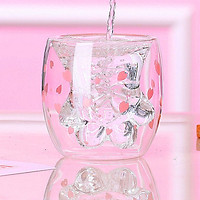 Cute Transparent Cat Paw Glass Mug Double Layer Glass Coffee Tea Cup Household Milk Juice Cup Creative Insulated Glass
