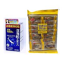 Thực phẩm bảo vệ sức khỏe Sụn vi cá mập ( Sụn cá mập Orihiro Squalene Nhật Bản) 360 viên – Hỗ trợ xương khớp - Tặng kèm 01 gói bánh quy dừa Nhật Bản hiệu Aee