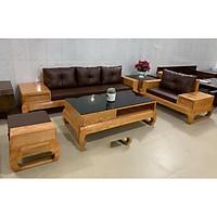 Bộ bàn ghế phòng khách Sofa góc gỗ sồi mầu óc chó mẫu hiện đại MS 14.9
