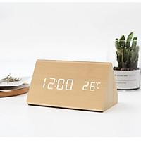 Đồng hồ giả gỗ TEWTER LED hình tam giác để bàn tiện dụng, thông minh trang trí phòng hiện đại - Tặng kèm pin.