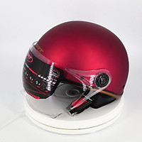 Mũ bảo hiểm nữa đầu SRT có kính viền đồng cao cấp, đuôi da