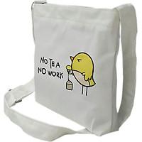 Túi tote mini đeo chéo TROY vải canvas in hình No Tea No Work chú chim nhỏ xinh xắn