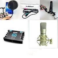 Bộ micro thu âm cao cấp PM10  Hàng nhập khẩu + sound card K10 + dây livestream + Kẹp đỡ để bàn và màng lọc