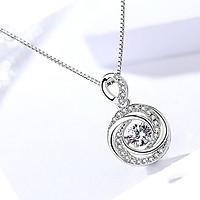 Dây Chuyền Bạc Nữ Hình Xoáy Ốc Đính Đá Thời Trang - Vòng Cổ Bạc Cho Nữ M1678 Bảo Ngọc Jewelry