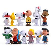 Bộ 12 Mô Hình Chú Chó Snoopy Và Những Người Bạn