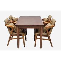 Bộ bàn ăn gỗ cao su Nội Thất Nhà Bên Nan 24  phong cách hiện đại (Nâu)
