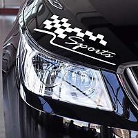 Sports - Trắng - Sticker transfer hình dán trang trí Xe hơi Ô tô size 27x9cm