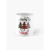 Cốc sứ uống trà cà phê cao cấp in hình  cây thông Noel - quà tặng Noel ý nghĩa