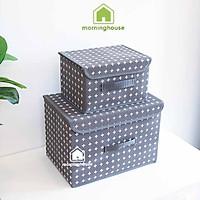 Combo 2 hộp đựng đồ gấp gọn Morning House - Màu Xám- Có nắp đậy, gấp gọn tiện lợi