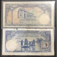 Tiền 100 đồng Bạc Đông Dương hình ảnh con thuyền sưu tầm