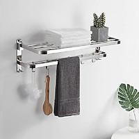 Giá treo khăn inox 304 dán tường B07A ( Loại Khoan ) - Kệ treo khăn nhà tắm đa năng gấp gọn