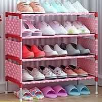 Kệ để giày dép quần áo khung kim loại 4 tầng họa tiết hình hoa HB-4R