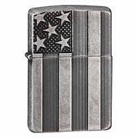 Bật Lửa Zippo Armor US Flag Antique Silver Plate 28974
