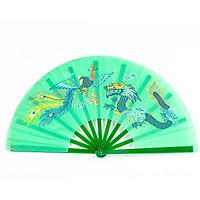(Xanh) Quạt lụa rồng phượng nan nhựa Võ thuật Thái cực Kung Fu quạt cổ trang xếp cầm tay phong cách Trung Quốc