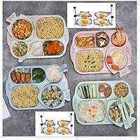 Bộ Khay chia đồ ăn chất liệu lúa mạch 6 món gồm  khay, bát, thìa, dĩa, đũa , khay tạo hình TR1505 ( giao màu ngẫu nhiên )