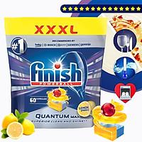 Túi 60 viên rửa chén Finish Quantum Max Dishwasher Tablets Lemon Sparkle QT025460 - hương chanh
