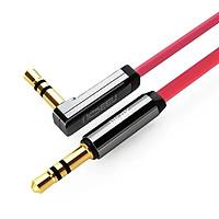 Cáp âm thanh 2 đầu 3.5mm dương chữ L dây dẹt 0.5M Đỏ Ugreen 119GK10797AV Hàng chính hãng