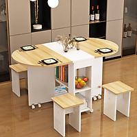 Bộ bàn ăn gập gọn kèm 4 ghế - Bàn ghế ăn gỗ gập gọn 3 trong 1 - Bàn ghế gỗ gấp gọn cho căn hộ nhỏ - Giao màu ngẫu nhiên