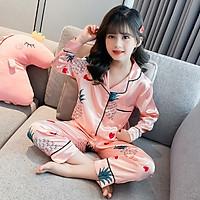 Bộ Ngủ Pijama Cho Bé Gái Lụa Satin Nhiều Màu Dài Tay 8-25kg - BPN05