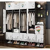 Tủ nhựa ghép 25 ngăn và 5  ngăn giày - Đen khinh khí cầu 23N2X5G