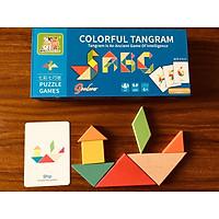 Đồ chơi giáo dục, Ghép Hình Tangram rèn kỹ năng Tư Duy logic cho bé ( 50 thẻ in hai mặt với 100 bài toán +7 miếng ghép hình khối)