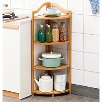 Giá kệ gỗ góc tam giác 4 tầng để đồ hay làm giá sách đều được,Màu vàng gỗ tre giúp không gian gọn gàng- Kệ góc Gỗ tre 4 tầng