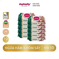 Combo 10 gói khăn ướt Mamamy 100 tờ/ gói có nắp không mùi an toàn cho bé