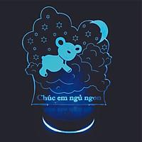 Đèn 3D led, Panda goodnight,Gấu lên mây, Đèn ngủ thay đổi 16 màu