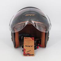 Mũ bảo hiểm 3/4 SRT 368K viền đồng lót nâu cao cấp có thông gió - kính càng - Đen - dành cho người đi phượt