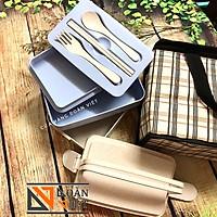 [Kèm Quà Tặng] Hộp cơm NHỰA LÚA MẠCH dày an toàn cho sức khỏe, kèm Quà Tặng túi giữ nhiệt. Dụng cụ hộp đựng cơm Cà men dành cho nhân viên văn phòng, sinh viên học sinh - Sp Đa năng gồm: 3 khay đựng thực phẩm, Thìa đũa muỗng, kèm Quà Tặng túi giữ nhiệt