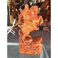 Quan công cưỡi ngựa cằm đao, gỗ hương nguyên khối, cao 40cm