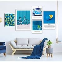 Bộ khung ảnh treo tường composite xe đạp xanh kèm đinh 3 chân  KA208