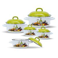 Bộ nồi 10 món Chefina Trendy Olive nắp xanh lá, Tặng Bộ bình ấm trà 4 tách