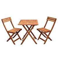 Bộ bàn ghế cafe cao cấp bằng gỗ tràm, gấp gọn – 1 bàn vuông và 2 ghế