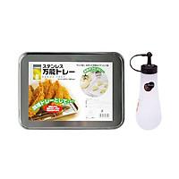 Combo Khay Inox Hứng Mỡ Đồ Rán, Nướng Bánh + Lọ Đựng Gia Vị, Nước Sốt, Nước Tương Enough Màu Nâu (360Ml) - Nội Địa Nhật Bản