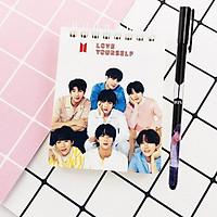 Sổ tay lò xo kẻ dòng BTS idol tặng kèm bút BTS