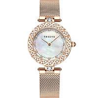 Đồng hồ nữ TRSOYE TR8809 mặt số VÀ viền đính đá sang trọng - quyến rũ không thấm nước Dây đeo lưới hợp kim thép