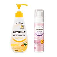 Combo sữa tắm kháng khuẩn Betadine hương mật ong Manuka chai 500ml + Bọt vệ sinh phụ nữ Betadine Moisturising - chai 100ml