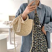 Túi đi biển mây dệt đeo vai cầm tay hoặc đeo chéo/ túi cói nữ bán nguyệt đi du lịch form cứng cột nơ ren màu kem và nâu phong cách vintage - Smice House