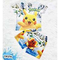 Đồ Bộ Thun Lạnh Có Tay In 3D cho bé trai hình Pikachu