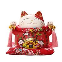 Mèo thần tài đỏ Phát Đạt Bội Thu - 21cm