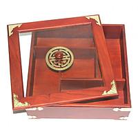 Khay mứt tết gỗ hương vuông 5 ngăn K688